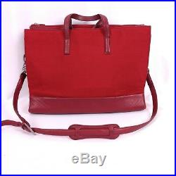 TUMI Business Red Ballistic Nylon Leather Laptop Crossbody Bag Ladies