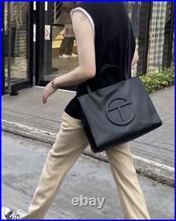 Telfar Medium Black Shopping Bag Tote Vegan Leather laptop