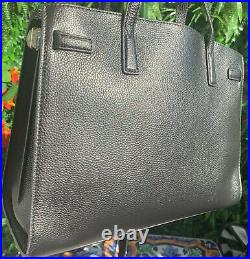 Tory Burch Walker Satchel Black Leather Bag Authentic New Holds 13 laptop