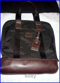 Tumi Laptop Black Brown Leather Tote Bag Tall Briefcase Dust Work Luggage Travel