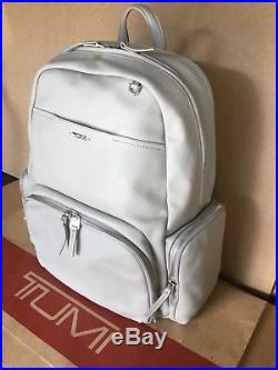 Tumi Leather Calais Voyageur Backpack Laptop Travel Casual Bag White