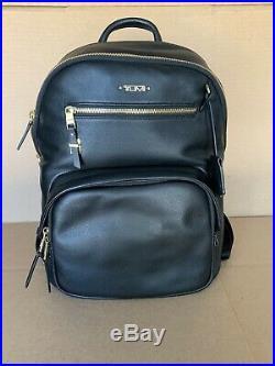 Tumi Leather Haper Backpack Women Travel Laptop Bag 196355 Black Gold Hardware