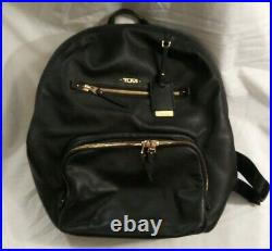 Tumi Voyageur Backpack Laptop Bag Black with Gold Hardware Leather Used