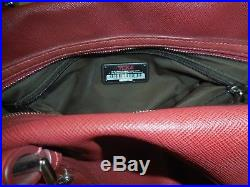 Used TUMI Leather Bag withLock & Keys DEEP RED TOTE Women Ladies Laptop Purse pack