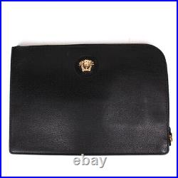 Versace New Large Medusa Folder Case Bag Black Leather Gold Zip Clutch