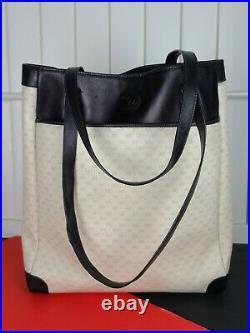 Vintage GG Gucci Tote Beige Monogram PVC Leather w Red Snake Applique Laptop Bag