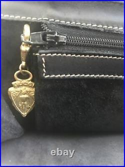 Vintage GUCCI Business Black Leather Shoulder Briefcase Laptop Messenger Bag 12