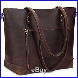 Vintage Genuine Leather Shoulder Laptop Bag Work Totes for Women Purse Handbag