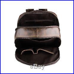 Vintage Men Women Leather Backpack Travel Hiking 16 Laptop School Bag Daypack