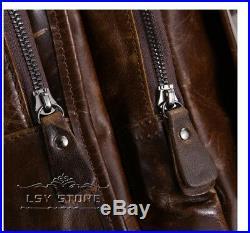 Vintage Travel Men's Women Genuine Cowhide Leather Backpack Travel Laptop bag