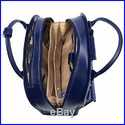 Wheeled Women's Laptop Briefcase, Leather, Mid-Size, Navy EDGEBROOK McKlein