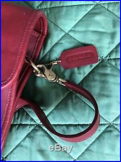 Womans Vintage Red Coach Briefcase Laptop Leather Bag