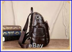 Women Retro Backpack Genuine Leather Laptop Ladies Shoulder Travel Bags Leisure