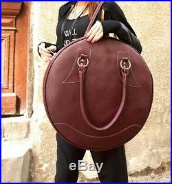 Women round ladies leather office tote Laptop Shoulder Bag Satchel large tote