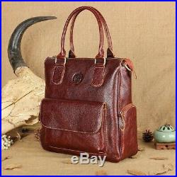 Women's Genuine Leather Handbags 14 Inch Laptop Briefcase Retro Messenger Bags