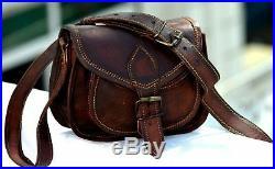 Women's Genuine Vintage Brown Leather Messenger Shoulder Cross Body 5 pcs Bags