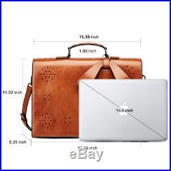 Women's Laptop Bag 15.6 Inch Large Capacity Oil Wax Leather Work Bag Vintage Zip