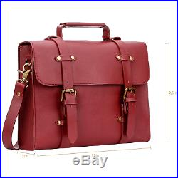 Women's PU Leather Laptop Bag Tote Messenger Bag Crossbody Satchel Briefcase