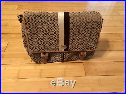 Women's Signature Messenger Brown/Camel Canvas Laptop Bag COACH brand