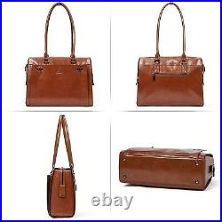 Womens Briefcase Oil Wax Genuine Leather fit 15.6 Inch Laptop Vintage Busines