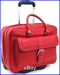 Womens Leather Rolling wheeled Laptop Case Briefcase Business Handbags Bag Bags