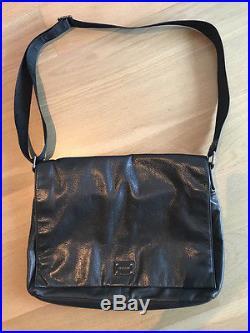 Womens Oroton Black Soft Leather Satchel Bag / Brief Case / Laptop Bag As New
