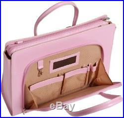 Womens Pink Italian Leather Laptop Tote Bag