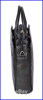 Womens Real Leather Briefcase Messenger Shoulder Office Laptop Bag Black