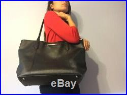 Womens Tumi Stanton Nonie Black Pebbled Leather Tote Bag 17 Inches, Fits Laptop